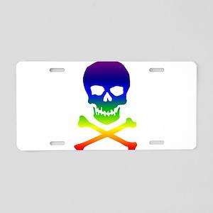 Rainbow Skull Aluminum License Plate