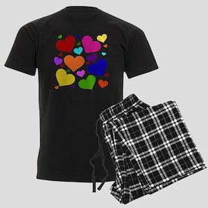Rainbow Hearts Men's Dark Pajamas