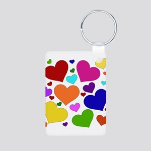 Rainbow Hearts Aluminum Photo Keychain