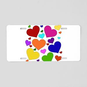 Rainbow Hearts Aluminum License Plate