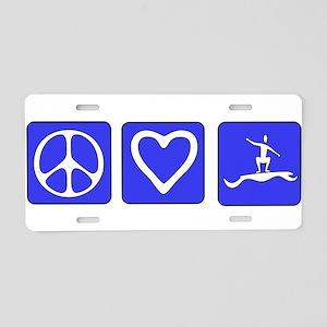 Peace Love Surfing Aluminum License Plate