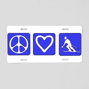 Peace Love Skiing Aluminum License Plate