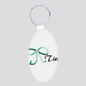 Tubes Tied Aluminum Oval Keychain