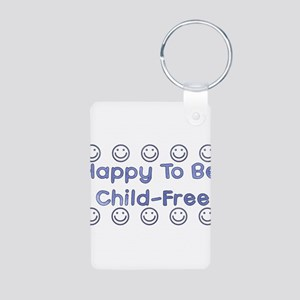 Happy To Be Child-Free Aluminum Photo Keychain