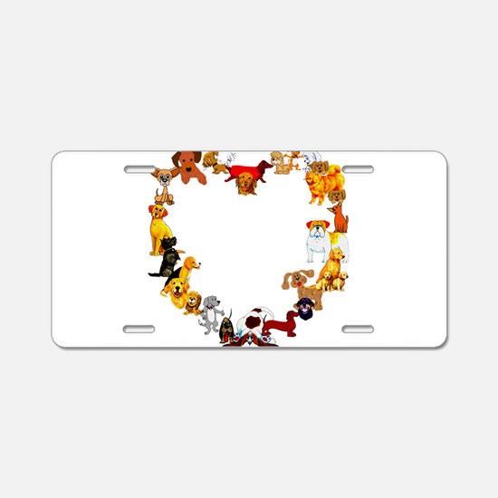 Dog Love Aluminum License Plate