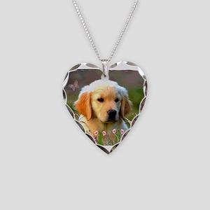 Austin, Retriever Puppy Necklace Heart Charm