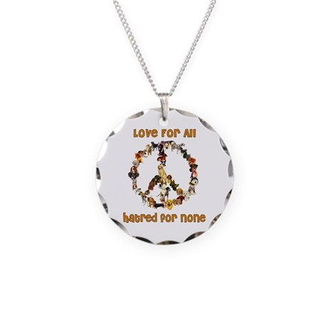 Dogs Of Peace Necklace Circle Charm