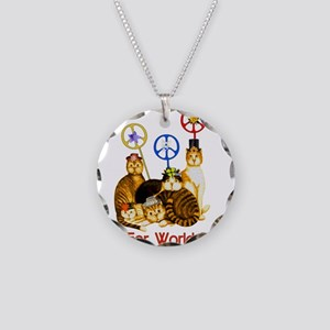 World Peace Cats Necklace Circle Charm