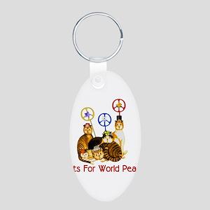 World Peace Cats Aluminum Oval Keychain