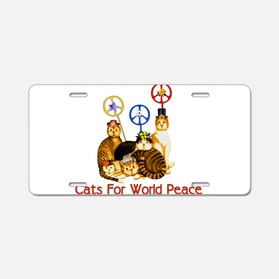World Peace Cats Aluminum License Plate