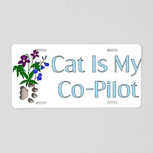 Cat Is My Co-Pilot Aluminum License Plate
