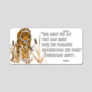 Tiger In Bullrushes Aluminum License Plate