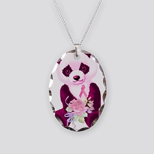 Breast Cancer Panda Bear Necklace Oval Charm