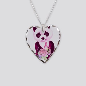 Breast Cancer Panda Bear Necklace Heart Charm
