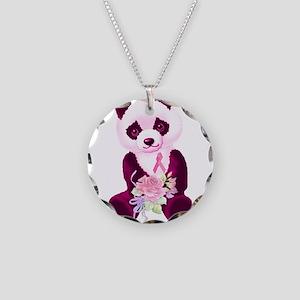 Breast Cancer Panda Bear Necklace Circle Charm