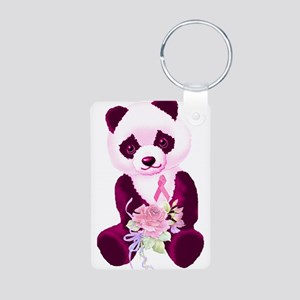Breast Cancer Panda Bear Aluminum Photo Keychain