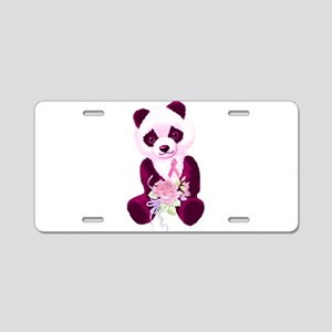 Breast Cancer Panda Bear Aluminum License Plate