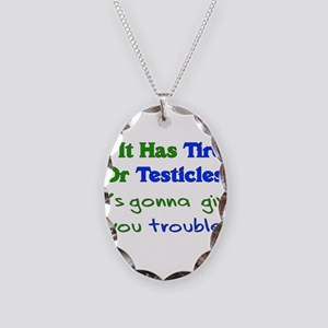 Tires Testicles Trouble Necklace Oval Charm