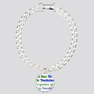 Tires Testicles Trouble Charm Bracelet, One Charm