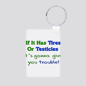 Tires Testicles Trouble Aluminum Photo Keychain
