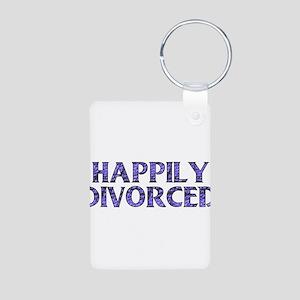 Happily Divorced Aluminum Photo Keychain