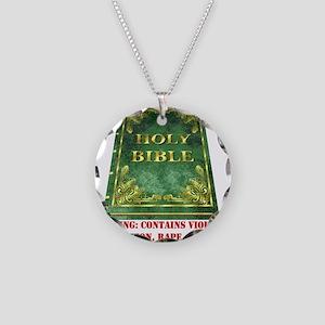 Bible Sex Violence Warning Necklace Circle Charm