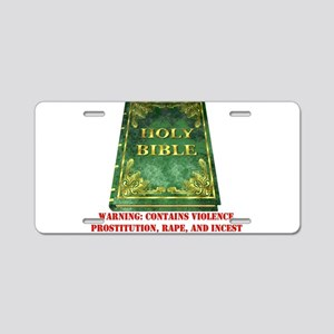 Bible Sex Violence Warning Aluminum License Plate