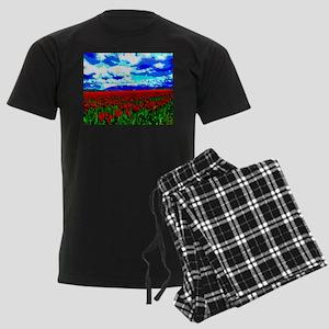 Red Tulip Field Men's Dark Pajamas