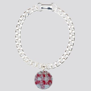 Wine Glasses On Red Checked C Charm Bracelet, One