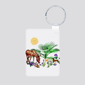 Animal Picnic Aluminum Photo Keychain