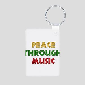 Peace Through Music Aluminum Photo Keychain