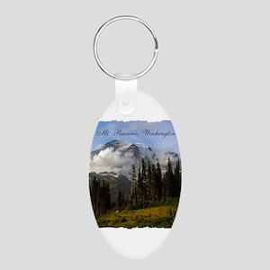 Mt. Rainier #3 Aluminum Oval Keychain