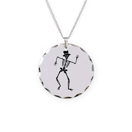 Dancing Skeleton Necklace Circle Charm