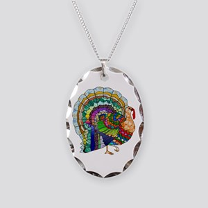 Patchwork Thanksgiving Turkey Necklace Oval Charm