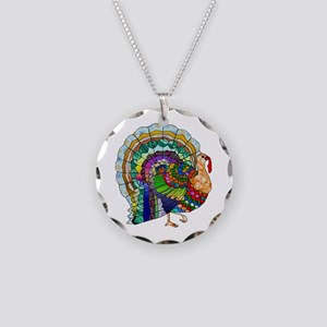 Patchwork Thanksgiving Turkey Necklace Circle Char