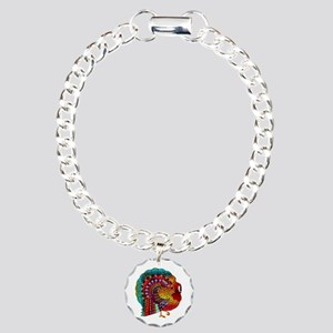 Thanksgiving Jeweled Turkey Charm Bracelet, One Ch