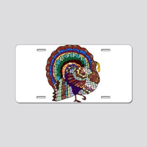 Thanksgiving Turkey Art Aluminum License Plate