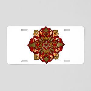 Red Hanukkah Mandela Aluminum License Plate