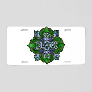 Green Hanukkah Mandela Aluminum License Plate