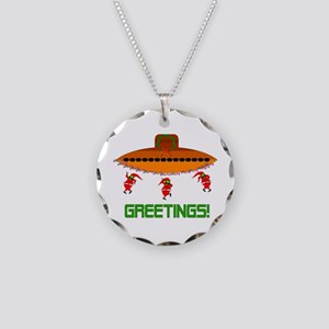 Space Aliens Christmas Necklace Circle Charm