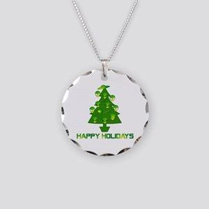 Alien Christmas Tree Necklace Circle Charm