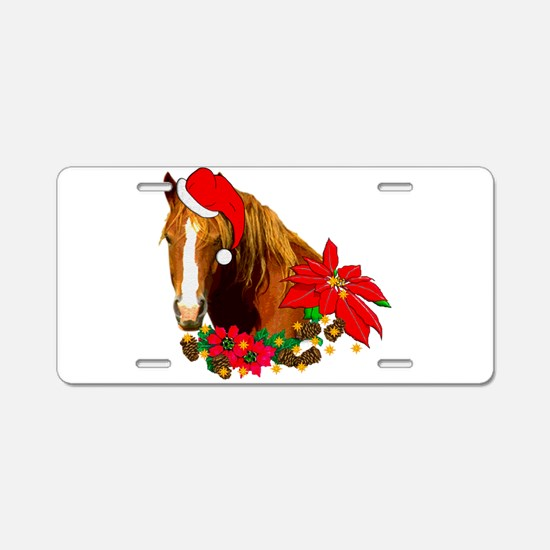 Christmas Horse Aluminum License Plate