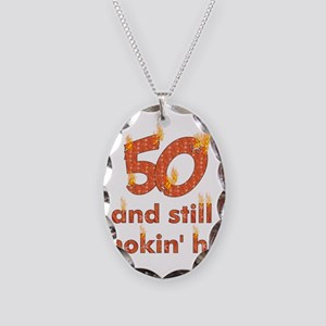 Hot Smokin' and Fifty Necklace Oval Charm