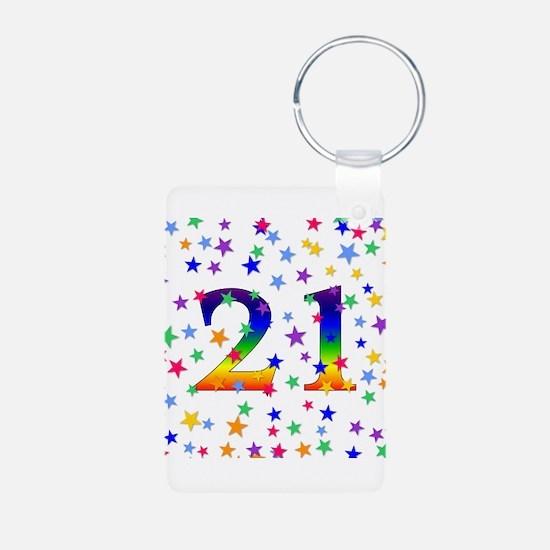 Rainbow Stars 21st Birthday Keychains