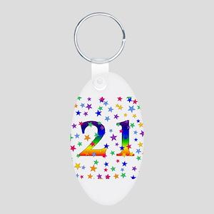 Rainbow Stars 21st Birthday Aluminum Oval Keychain