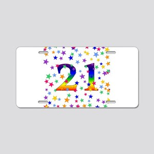 Rainbow Stars 21st Birthday Aluminum License Plate
