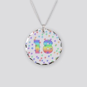 18th Birthday Pastel Stars Necklace Circle Charm