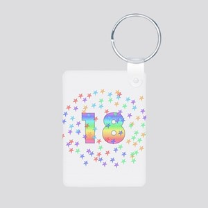18th Birthday Pastel Stars Aluminum Photo Keychain