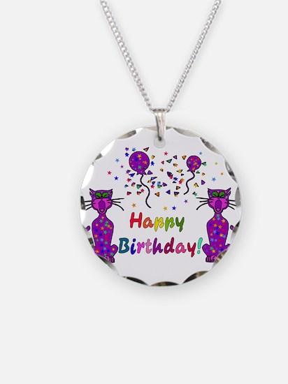 Purple Birthday Cats Necklace