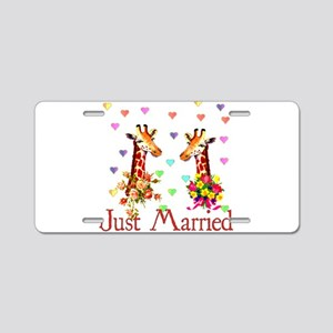 Wedding Giraffes Aluminum License Plate